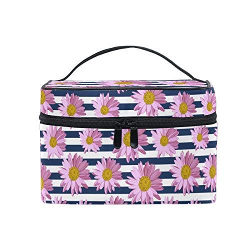 HaJie - Bolsa de maquillaje de gran capacidad, diseño de flores geométricas, diseño de margaritas, portátil, neceser, bolsa de almacenamiento, bolsa de lavado para mujeres y niñas