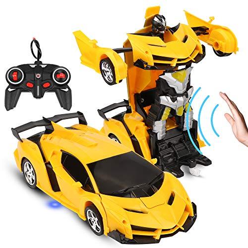 Ferngesteuertes Auto für Kinder ab 6, Ferngesteuertes Auto mit Fernbedienung und Handgesteuerter, Auto Transformers Roboter Wiederaufladbar RC Auto Rennauto