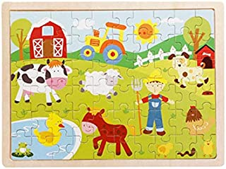 60 pieces Jigsaw Puzzles for Girls Boys Toddlers Teens Adults Kids Wood Tree Animal Farm
