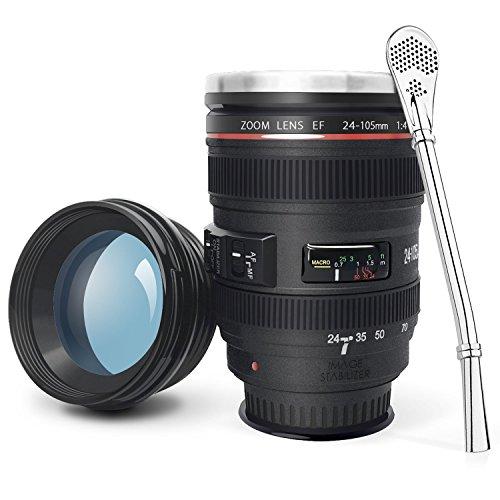 LanChuon Taza de la lente de la cámara con ventosa, taza en forma de objetivo EF24-105mm, estable pero fácil de recoger, el interno es de acero inoxidable y regalo para un amante de la fotografía