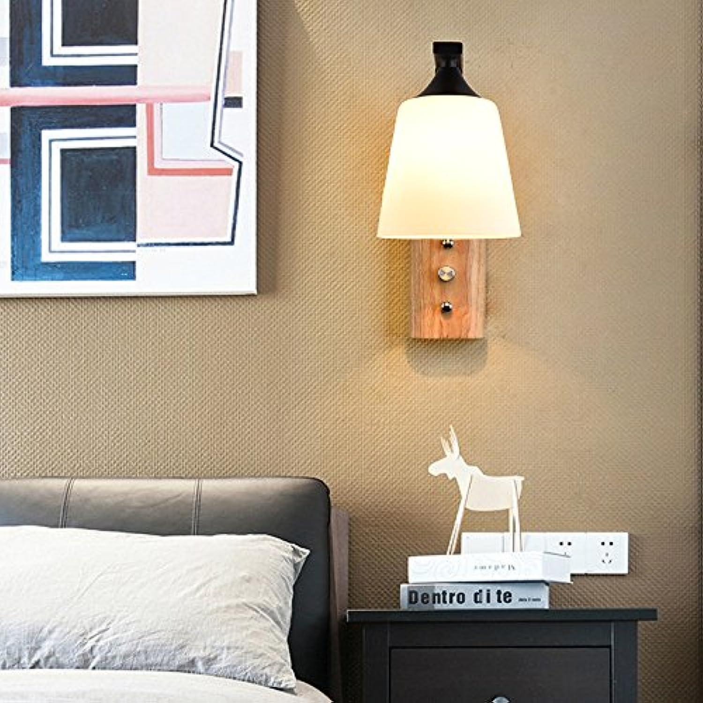 Self-My Wandleuchte Moderne, Einfache Wand S Nordic Massivholz Bedroombedside Einstellbare Kuami-Style Wohnzimmer Flur Studie An Der Wand, An Der Wand Mit Glühbirne 5W Wei