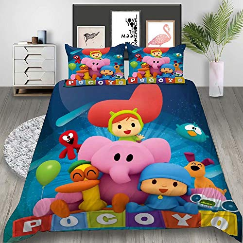 YARIVI Pocoyo Bedding Set for Kids Full Cartoon Pocoyo Duvet Cover Set 3 Pcs Super Soft Bed Set, Best Gift for Boys Girls