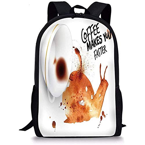 Hui-Shop Schultaschen Kaffeekunst, abstrakte Schnecke im Aquarellstil mit Schriftzug Hot Morning Drink Burnt Sienna Black White für Jungen Mädchen