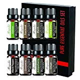 Vetiver,Patchouli,Myrrh,Ylang Ylang,Black Pepper,Cinnamon,Ginger,Juniper Berry Essential Oil Sets Organic Natural Plant Oils for Diffuser Humidifier - 8 Pack x10ml