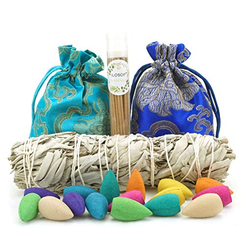 Premium White Sage 7.1 Inch Smudge Sticks, 80 Pcs 8 Kind Mixed Natural Scent Backflow Incense Cones, 50 Pcs Incense Sticks, for Spiritual Incense Burning Aromatherapy and Meditation