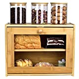 Bread Box, 2 Layer Bamboo Bread Boxes with transparent windows for Kitchen Food Storage, Equipped with three transparent glass storage Kitchen Canisters,15.7