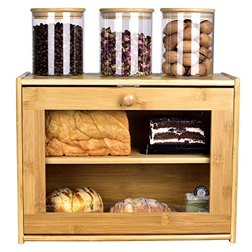 Bread Box, 2 Layer Bamboo Bread Boxes with transparent windows for Kitchen Food Storage, Equipped with three transparent glass storage Kitchen Canisters,15.7' x 6.69' x 12', (Assembled)