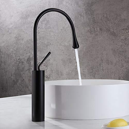 Lovedima Comercial de Arco Alto de una sola manija de 1 agujero baño recipiente fregadero grifo de lavabo de latón macizo (negro mate)