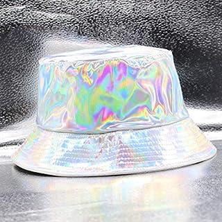 LONLLWK Sombrero para El Sol Moda Verano Hip Hop Gorra Mujeres Hombres Color Plata Metalizado Brillante Panamá Pescador Sombrero Cubo Sombreros