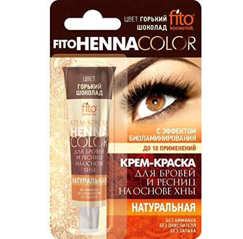 Fitokosmetik Henna Cremefarbe für Augenbrauen und Wimpern Farbe bitterschokolade ohne Ammoniak mit...
