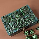 Cthulhu Lovecraft caja de dados de resina y madera para D&D y juegos de rol