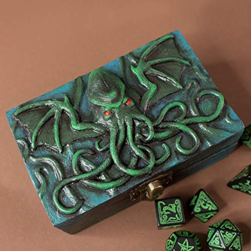 Cthulhu Lovecraft Würfelbox aus Holz und Harz für D & D und Rollenspiele