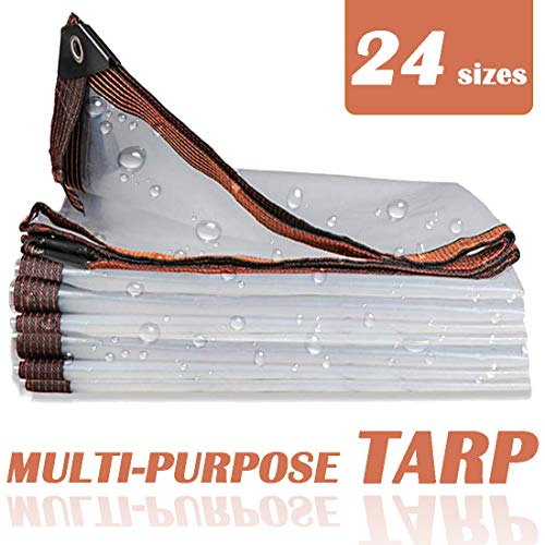 NaDrn Lona de Protección, 120g/m² Lona Toldo Transparente Impermeable De Hoja de Suelo Tienda de Refugio Tarea Pesada, Transparente, 24 Tamaños,2x6m/6.5x20ft