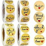 UYKOKH® Etiquetas Redondos Kraft Papel Regalos - con Pegatina de Amor: Gracias Las Etiquetas Cada Vez Que se desplazas, Hay 500 Etiquetas - para Bolsas de Regalo