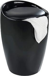 Wenko 20630100 Intégré Candy Tabouret de Douche avec Sac à Linge Noir