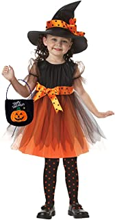 Halloween Toddler Girl Clothes Witch Costumes Bow Dresses Witch Hat Pumpkin Bag for Toddler Girls