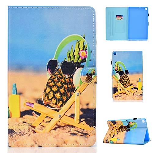 Lspcase Galaxy Tab A 10.1 Zoll 2019 Hülle PU Leder Flip Case Cover Magnetisch Ständer Tasche Tablet Schutzhülle mit Kartenfach für Samsung Galaxy Tab A 10.1 SM-T510 / SM-T515 Ananas und Strand
