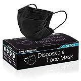 Masque jetable Eventronic, 50 pièces de masque respirant à trois couches super confortable avec pince-nez, noir