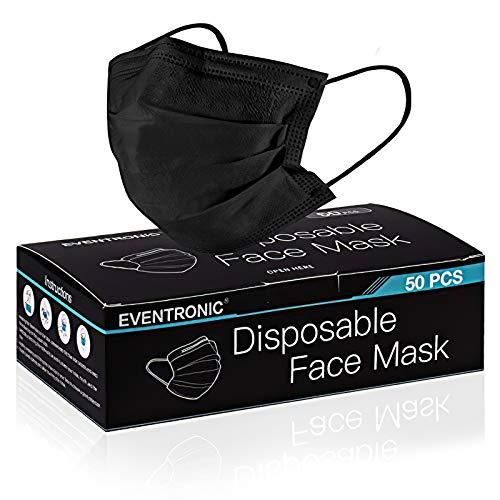 Eventronic Einwegmaske, 50 Stück super Bequeme dreischichtige atmungsaktive Maske mit Nasenstreifen,schwarz