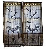 Halloween Dekoration Gardinen 2 PCS PACK Schwarz Farbe mit Spinnen und Fledermäuse je Vorhang 101 x 213 cm