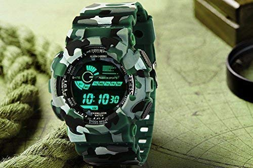 Emartos Fashion Digital Men's & Boy's Watch (Black Dial, Green Colored Strap)