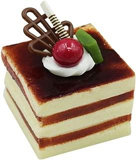 BESTOYARD Simulation Three-Tier Square Cream Fruit Cake Artificial Lifelike Fake Small Cake Model Food Cake Kitchen Photography Props Decoration (Coffee)