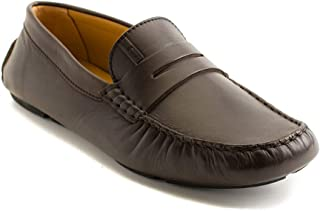 Collezioni Men's Leather Loafer Driving Shoes Brown