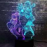 Lámpara de ilusión de luz nocturna 3D Super Hero, lámpara de mesita de noche de 7 colores Regalos de Navidad y cumpleaños para niños Luz de noche LED con control remoto