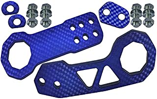 ICBEAMER Racing Style Universal Anodized CNC Aluminum Tow Hook Kit Including Front Rear Tow Hook [Color: Blue]