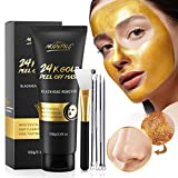 Masque de Points Noirs, Masque en Or 24K, Masque Peel Off, Blackhead Remover Masque, Masque Anti-âge, Nettoyage en Profondeur Idéal pour Toutes les Peaux, avec Outils D'extraction de Points Noirs
