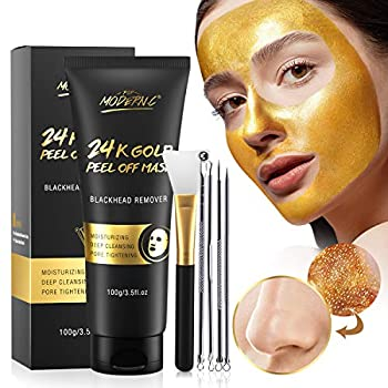 Blackhead Remover Mask 24K Gold Peel Off Mask Gold Facial Mask Anti-Aging Deep Cleansing Reduces Fine Lines& Wrinkles Great for All Skin With Blackhead Remover Extractor Tools Kit & Mask Brush
