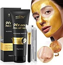 Blackhead Remover Mask, 24K Gold Peel Off Mask, Gold Facial Mask Anti-Aging, Deep Cleansing, Reduces Fine Lines& Wrinkles Great for All Skin, With Blackhead Remover Extractor Tools Kit & Mask Brush