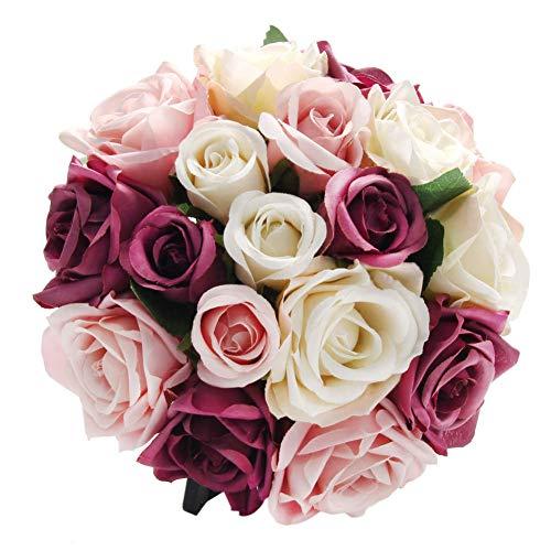 CQURE Künstliche Blumen,kunstblumen Unechte Deko Blumen Künstliche Rosen Seidenrosen Plastik 18 Köpfe Braut Hochzeitsblumenstrauß für Haus Garten Party Blumenschmuck (Mischfarbe×2)