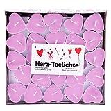 Pajoma Lot de 50 bougies chauffe-plat en forme de cœur Love You Rose 3 heures