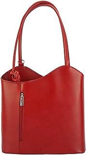 FLORENCE LEATHER MARKET Made in Italy - Borsa donna rosso chiaro a spalla in pelle 28x9x29 cm - Cloe
