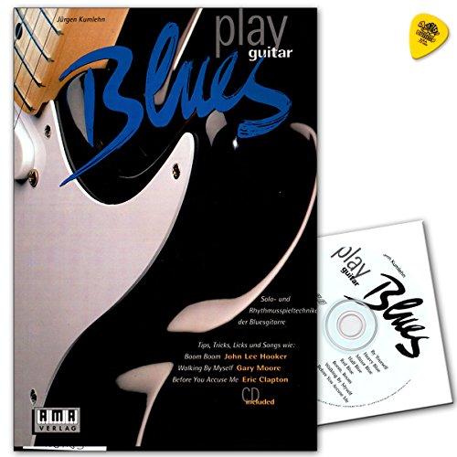 Play Blues gitaar: solo- en ritmetechnieken van de bluesgitaar. Met sound- en techniektips, bluesvormen, jamtracks, licks, trucs en songs. - Notenboek met CD en Dunlop PLEK