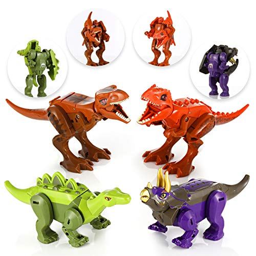 Dinosaur Robot Transforming Toys, 4 Pack Dino Action Figures Tyrannosaurus T-Rex Triceratops and...