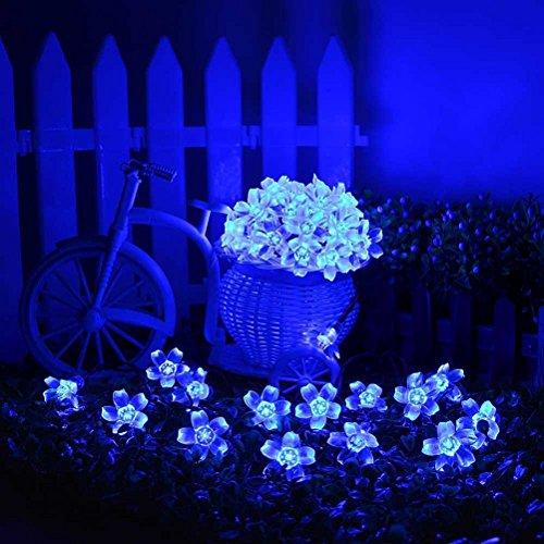 LEDMOMO 50 LEDs Solar String Lights Outdoor Blue Cherry Blossom Flower Light Waterproof