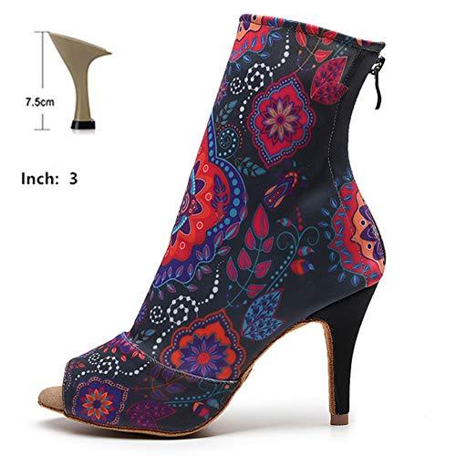 HOAPL Dames Dans Schoenen Elastische Enkellaarzen Zwart Latijn Bloemen Standaard Womens Latin Dance Schoenen Dans Laarzen Dames Schoenen