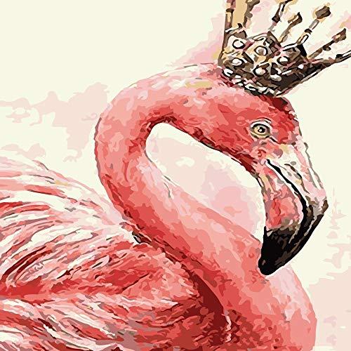 DSJDSFH Digitale Olieverfschilderij DIY Pure Handbeschilderde Olieverfschilderij Kern Woonkamer Landschap Schilderen Frameloze Decoratieve Schilderij 40 * 50Cm 40x50cm Beautiful flamingo