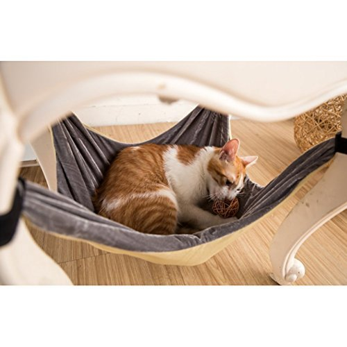Cat Hammock Bed - Soft Warm and Comfortable Pet Hammock Use with Chair for Kitten, Ferret, Puppy, or Small Pet (Khaki)