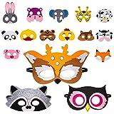 16 máscaras de animales para niños, máscaras de Halloween, máscara de fieltro de animales para niños, excelente elección para regalos de cumpleaños y juegos de rol, apto para niños y niñas