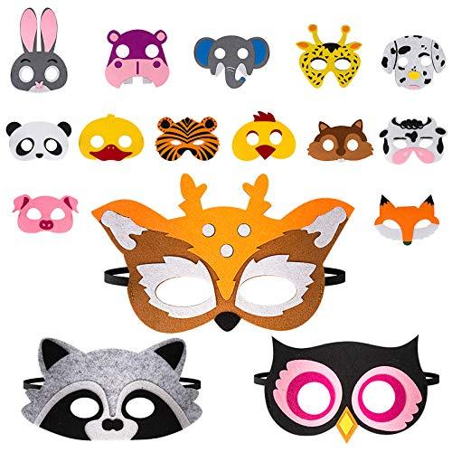 16 Pezzi Maschere di Animali per Bambini, Maschere di Halloween, Maschera in Feltro di Animali per Bambini,Un'ottima scelta per Regali di Compleanno e Giochi di Ruolo, Adatta a Ragazzi e Ragazze