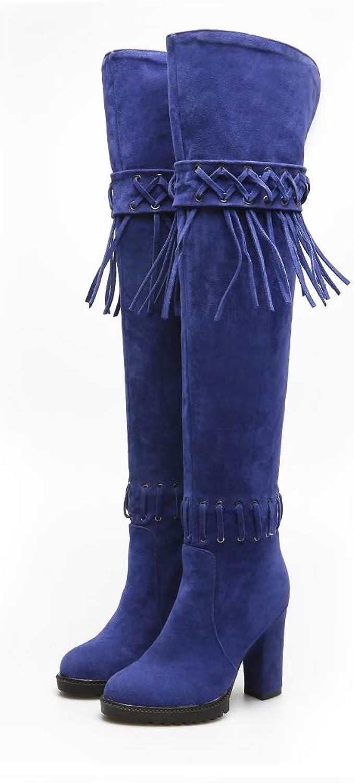 H&Y Frauen-Art- und Weisestiefel-künstlicher PU-Fall Winter warme warme warme Art- und Weisestiefel Mill Sand Quasten-Reitstiefel Dame-Elegante Over-Knee Stiefel Starke Fersen-Stiefel Büro-u. Karriere-Partei u  968aed