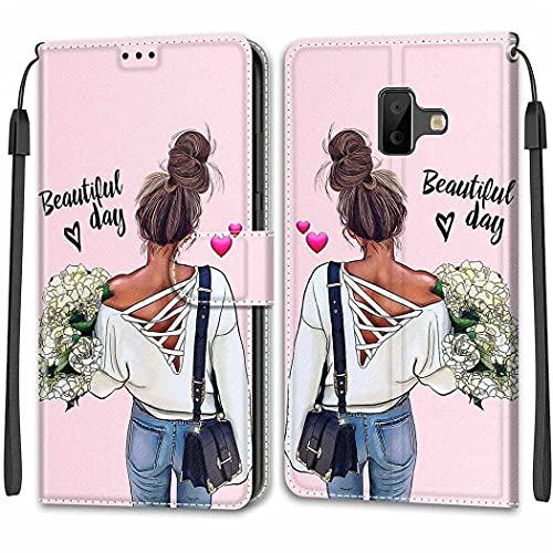 ShuiSu Funda con tapa para Samsung Galaxy J6 Plus 2018, hermoso diseño duradero de piel sintética suave cierre magnético con función atril, bolsillos para tarjetas, carcasa protectora - V28