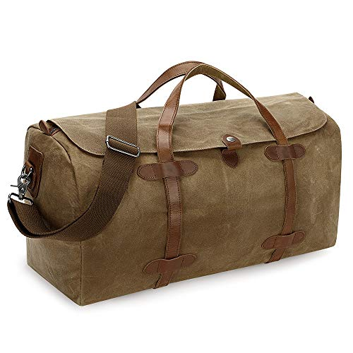 S-ZONE Travel Tote Duffel Weekender Bag Waxed Canvas Leather Carryon Luggage