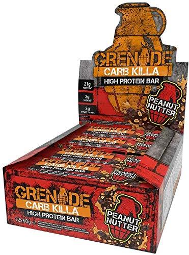 Grenade Carb Killa Barretta Proteica a Basso Contenuto di Carboidrati, Peanut Nutter, 12 x 60 g