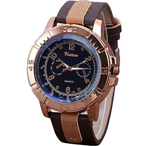 Xlin Deportes De Moda Reloj De Los Hombres del Cinturón De Tres Ojos Clásico Big Dial Blue Quarter Watch Men's Watch (Color : Dark Deep Coffee)
