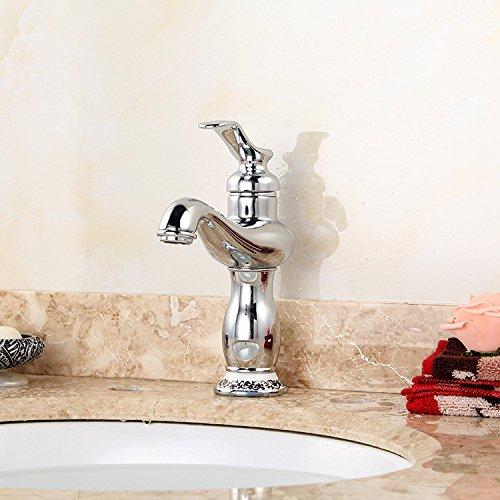 Maifeini Grifo para lavabo, agua caliente y fría, porcelana de color azul y blanco envejecido