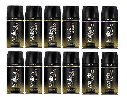 12x MALIZIA UOMO Gold mann deo 150ml deospray deo spray deodorant Edt Parfüm